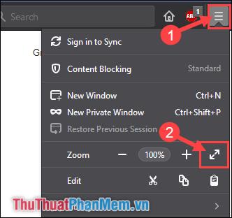 Trình duyệt Firefox - Bấm F11 để thoát chế độ Toàn màn hình