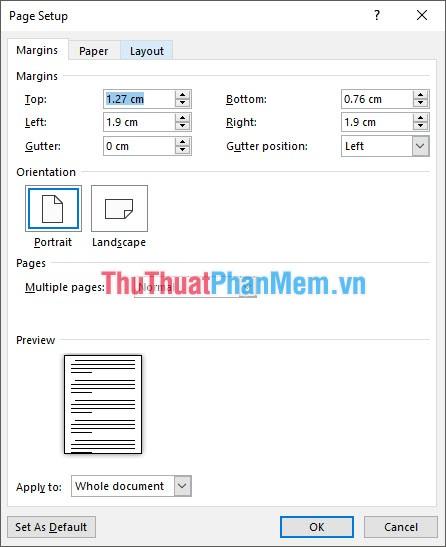 Chỉnh thông số trong Page Setup