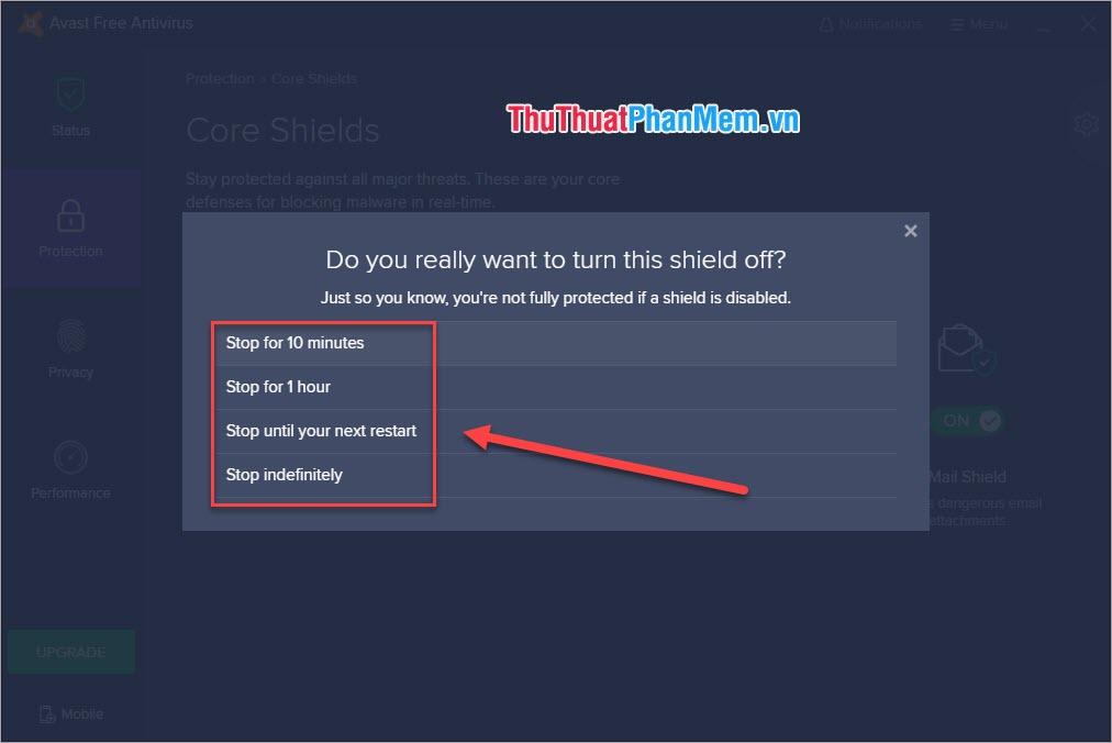 Lựa chọn khi tắt Avast