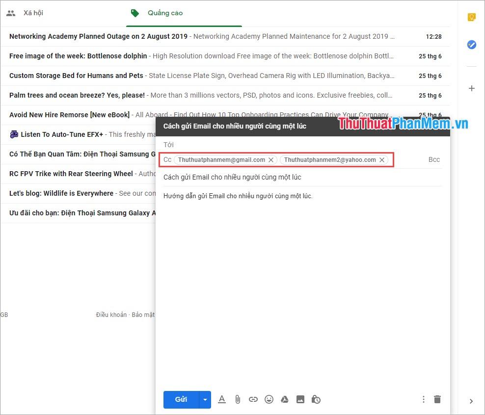 Nhập các địa chỉ Email vào ô CC