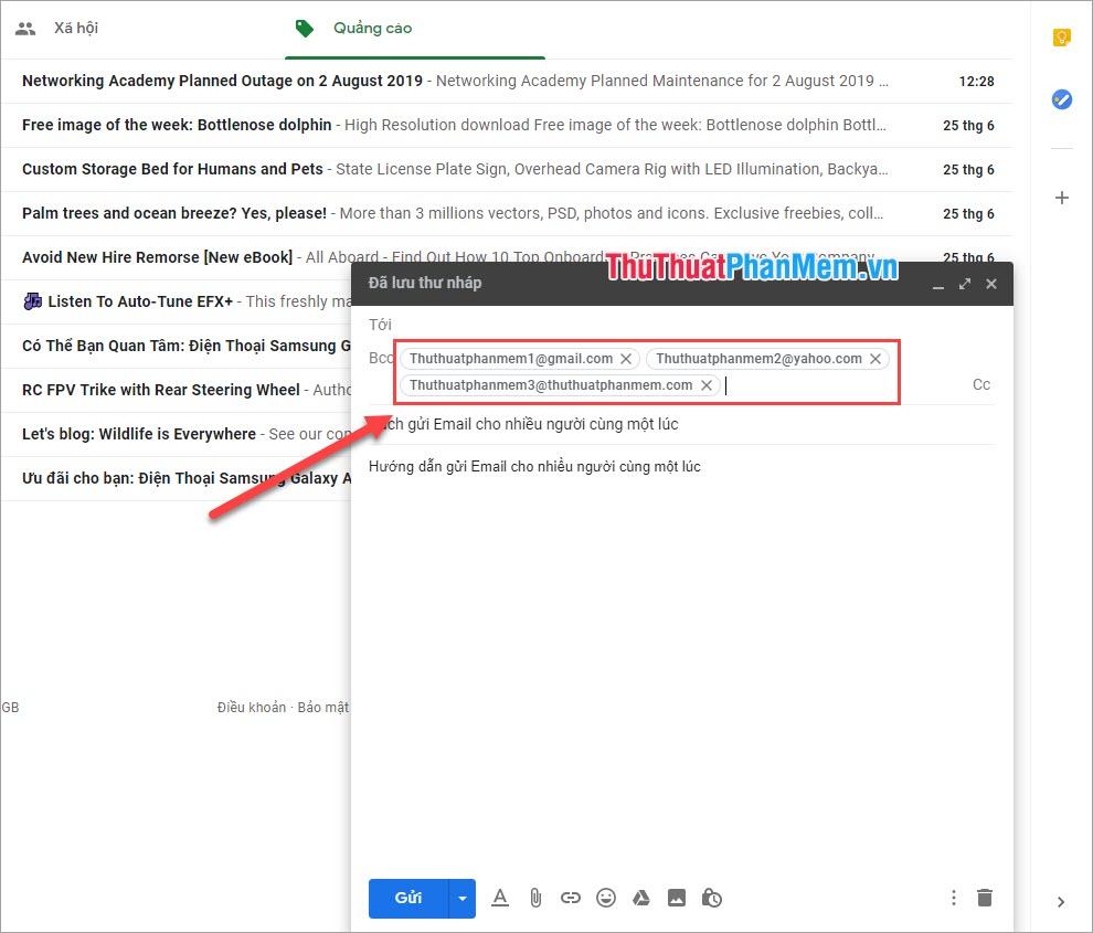 Nhập địa chỉ Email những người mà mình muốn gửi đến