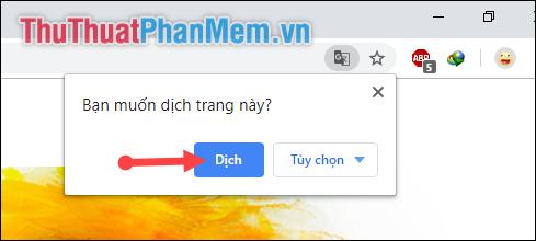Chọn Yes để xác nhận dịch trang