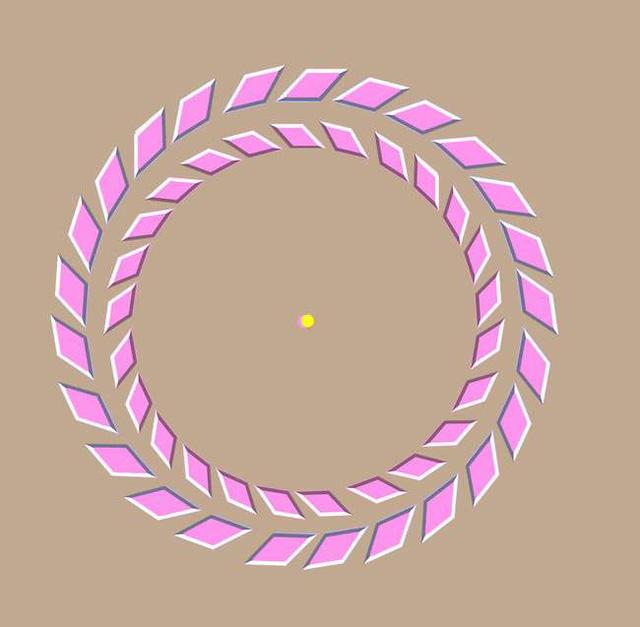 Khi bạn nhìn lại gần hoặc ra xa các bạn có thể thấy 2 vòng tròn xoay ngược chiều nhau