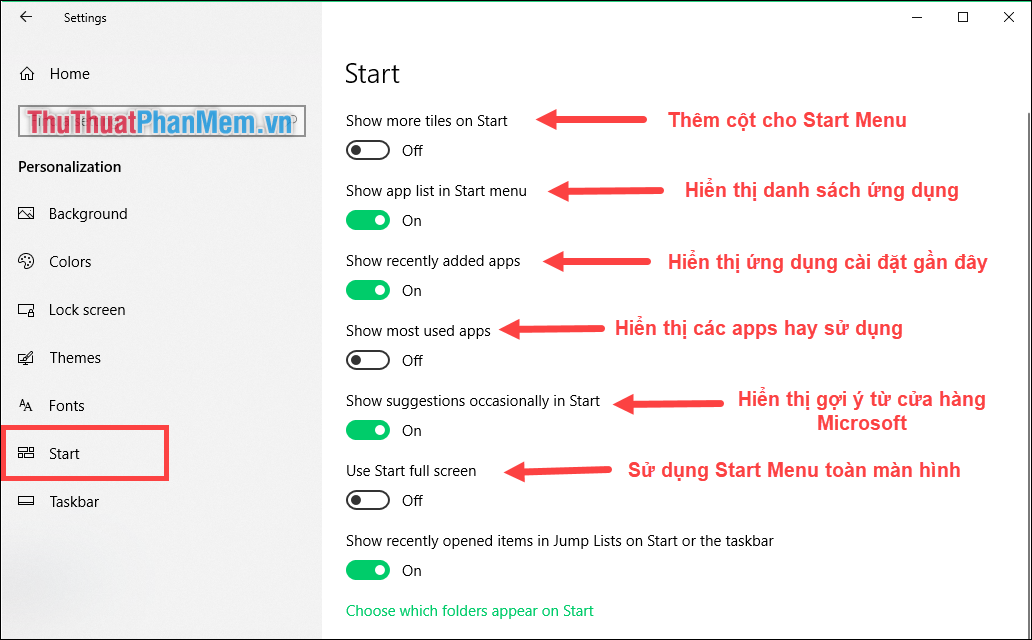 Tùy chọn khác cho Start Menu