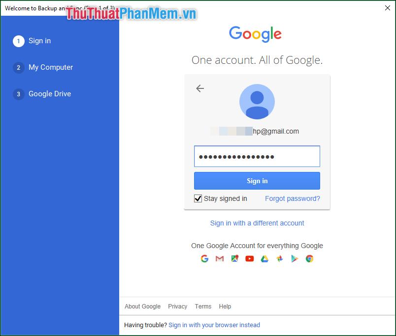 Đăng nhập vào tài khoản Gmail