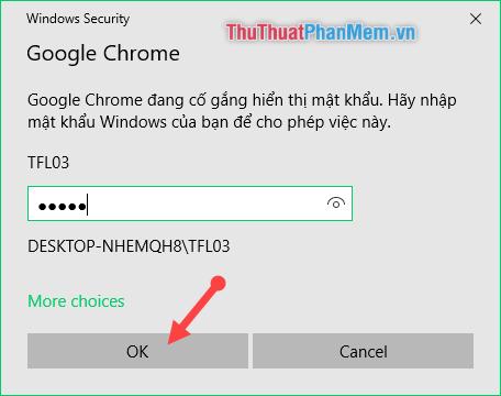 Điền mật khẩu đăng nhập vào máy tính của bạn