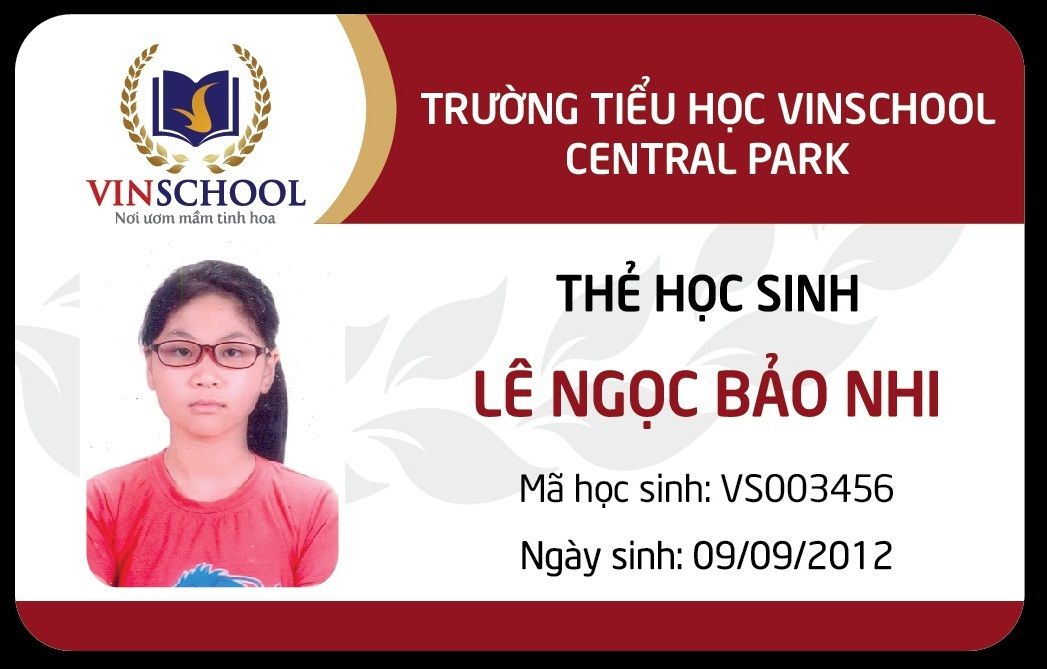 Mẫu thẻ học sinh vinschool
