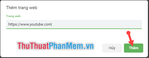 Nhập địa chỉ trang web mà bạn muốn tắt tiếng
