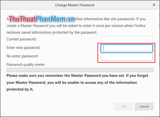 Nhập lại mật khẩu bảo mật của bạn