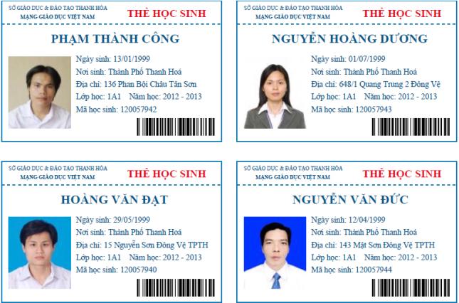 Tổng hợp mẫu thẻ học sinh