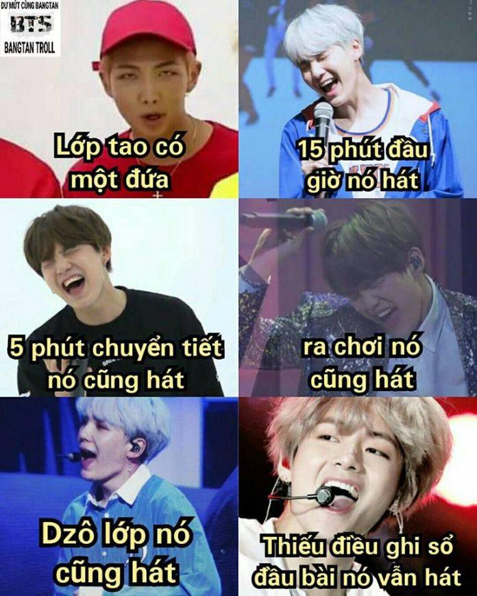 Ảnh hài chế dìm BTS thích hát mọi lúc mọi nơi