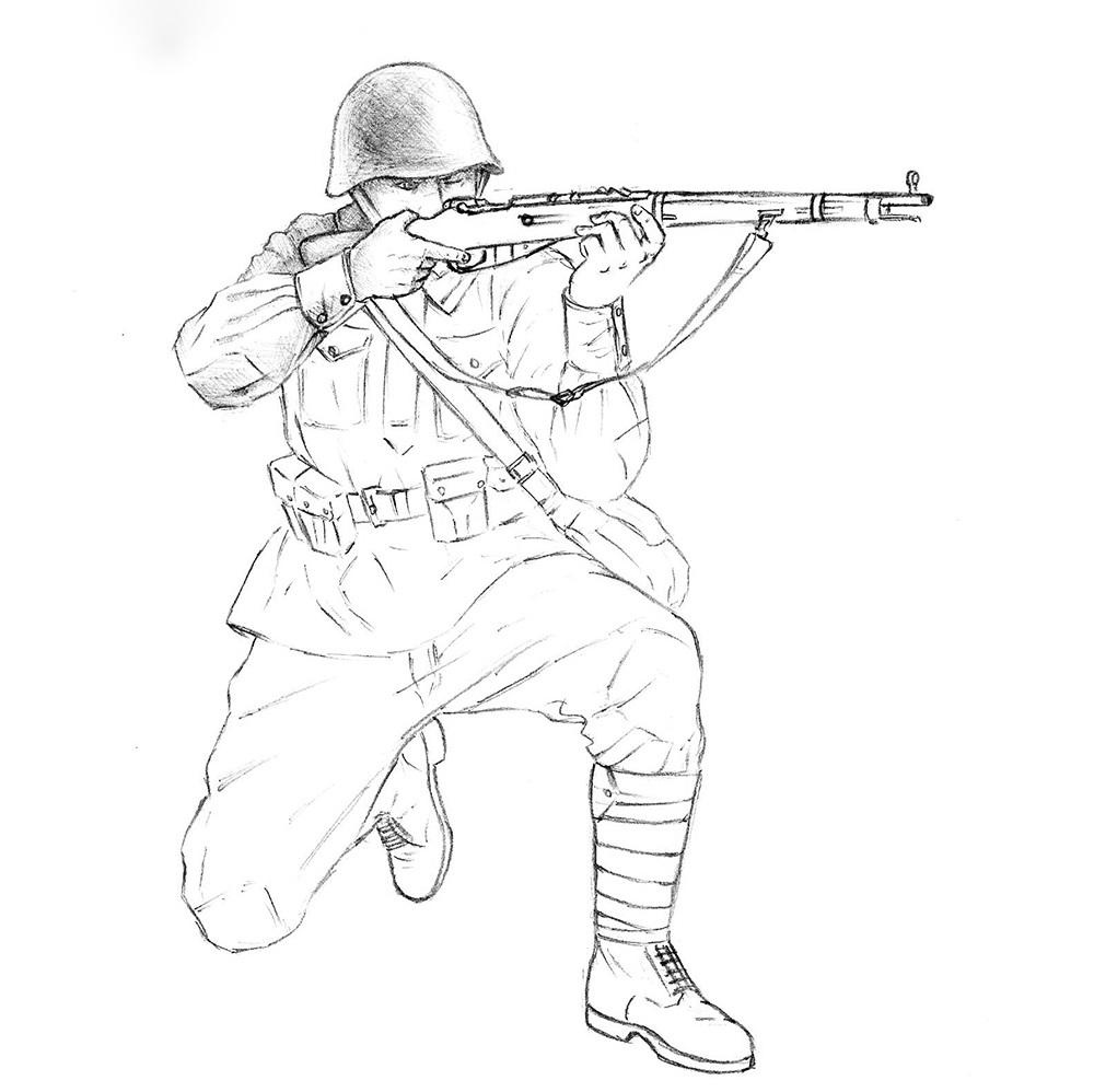 Tranh tô màu bộ đội thời chiến