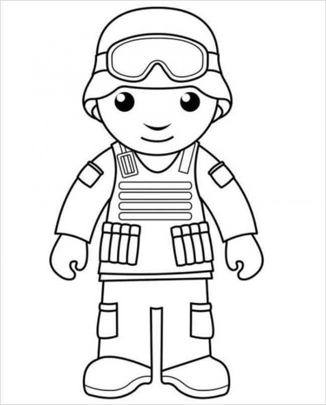 Tranh tô màu chú bộ đội dành cho bé