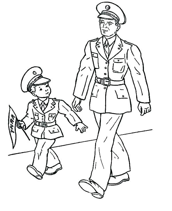 Tranh tô màu chú bộ đội và đứa bé