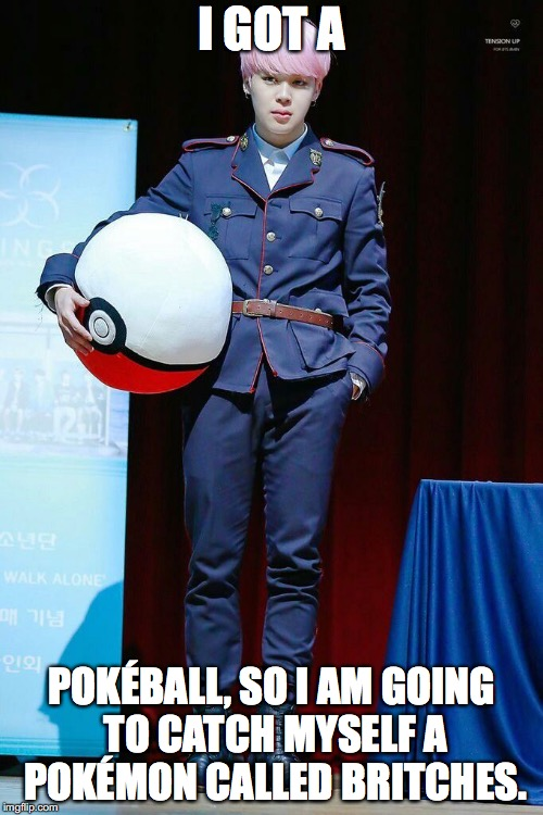 Ảnh chế BTS hài bựa- I got a Pokéball so i am going to catch myself a Pokemon called britches