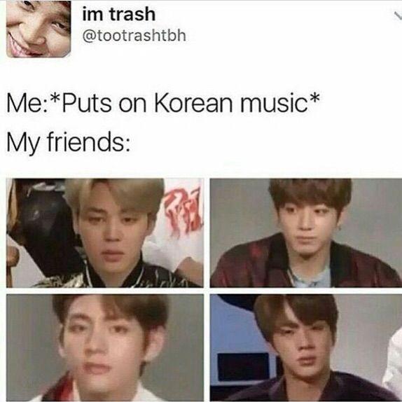 Ảnh chế BTS hài bựa- Puts on Korean music