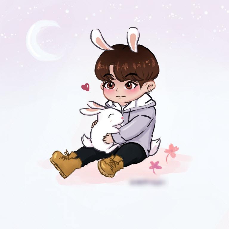 Ảnh Jungkook chibi cute của nhóm BTS