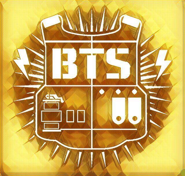 Ảnh logo BTS với áo giáp màu vàng