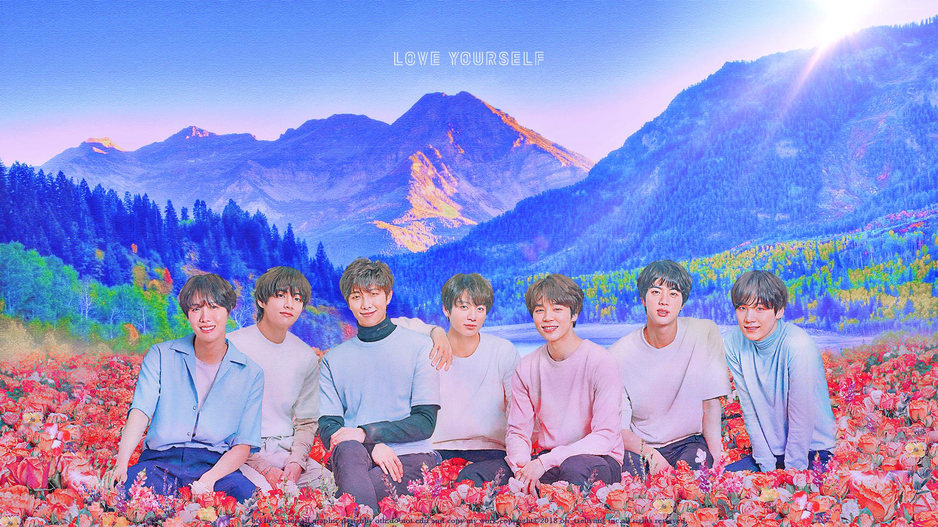 Ảnh nền BTS các thành viên ngồi giữa rừng hoa