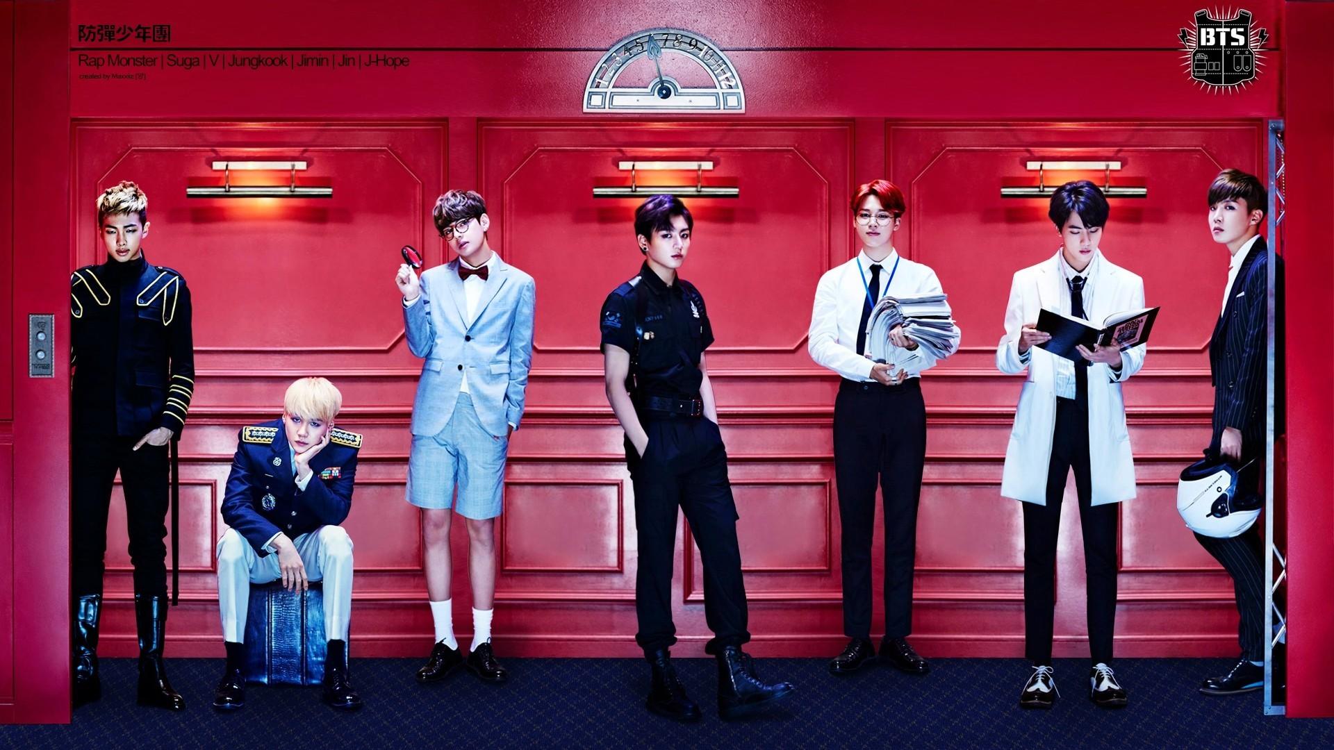 Ảnh nền HD nhóm nhạc BTS với bức tường đỏ phía sau lưng