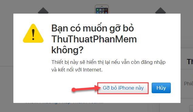 Chọn Gỡ bỏ Iphone này