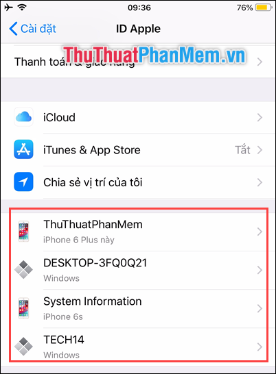 Hiển thị những thiết bị đang sử dụng ID Apple