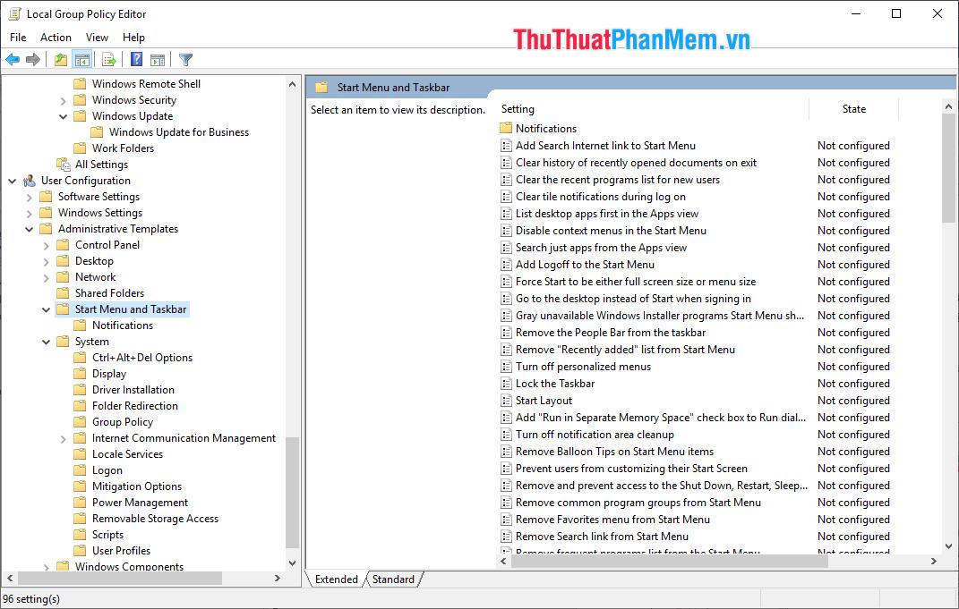 Chỉnh sửa thanh Taskbar và Start Menu