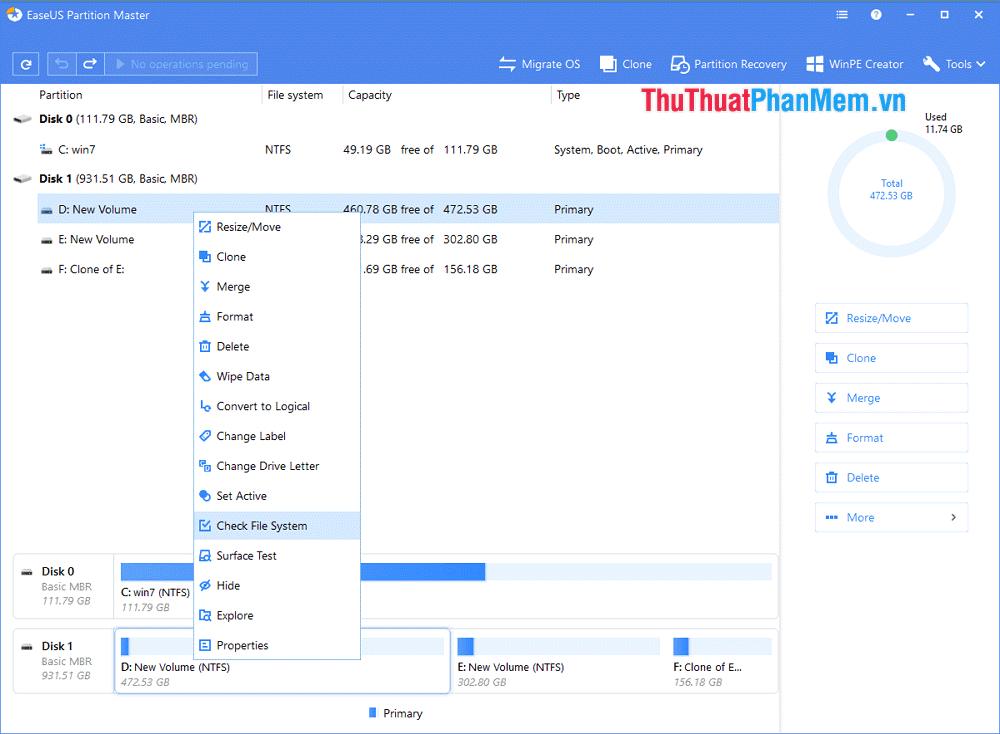 Chọn Check File Sytem