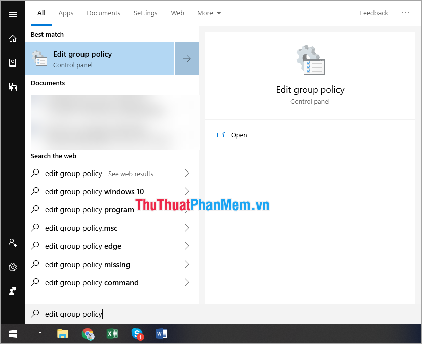 Chọn edit group policy