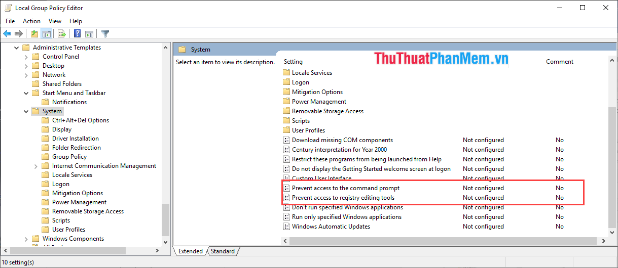 Tắt Command Prompt và Windows Registry Editor