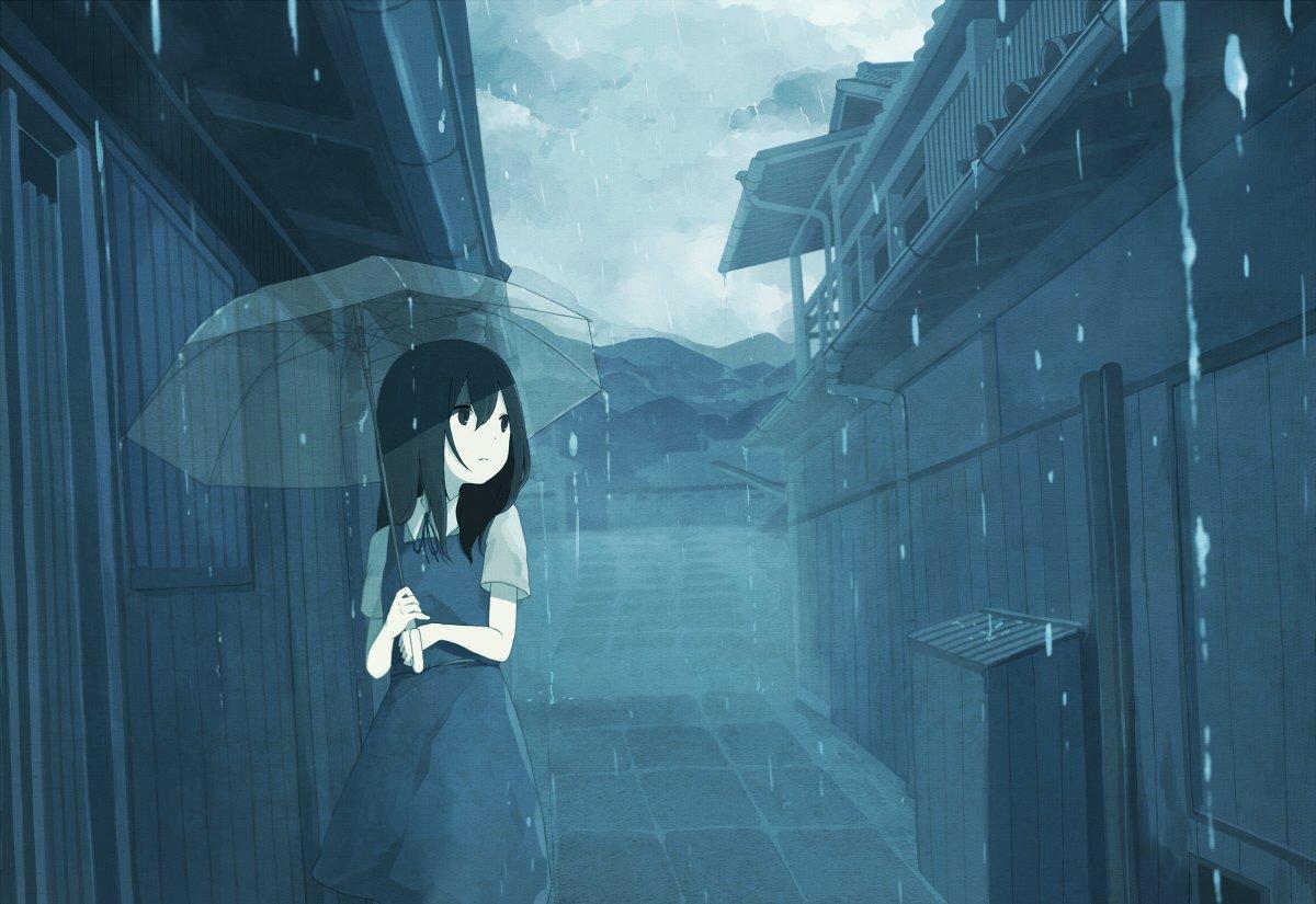Hình ảnh cô gái dưới trời mưa buồn