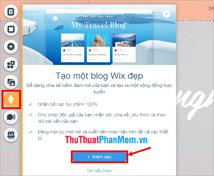 Thêm Blog Wix