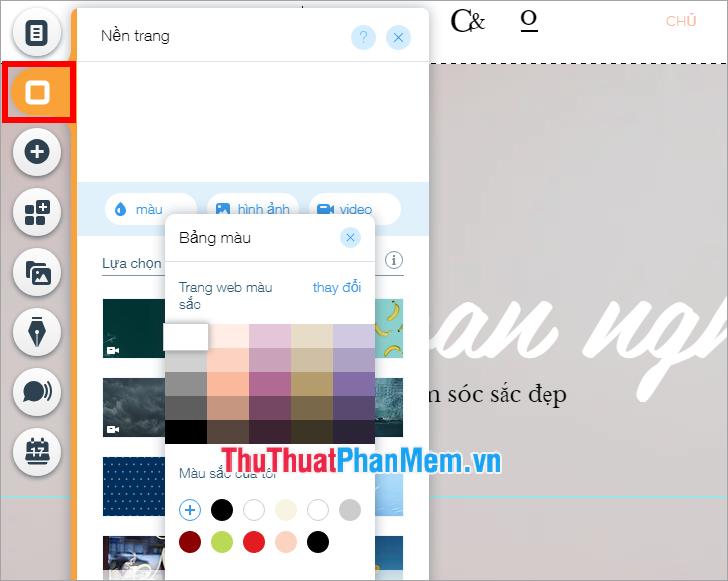 Thiết lập hình nền mầu nền cho website