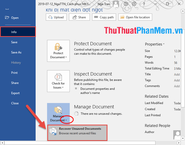 Chọn Recover Unsaved Documents