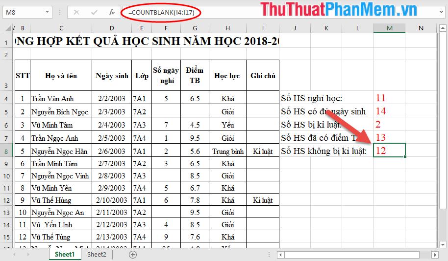 Đếm số HS không bị kỉ luật trong bảng dữ liệu