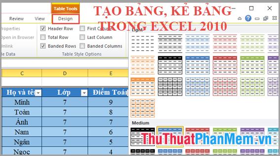 Cách tạo bảng, kẻ bảng trong Excel 2010