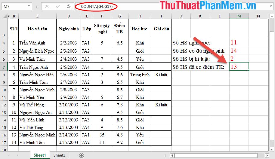 Tương tự bạn có thể sử dụng hàm counta để kiểm tra số HS đã được nhập điểm tổng kết