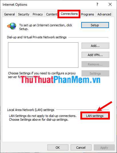 Chọn LAN settings