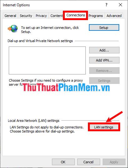 Chọn LAN settings