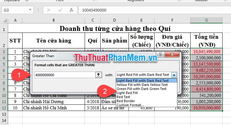 Chọn Greater Than