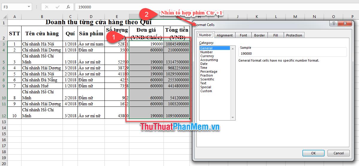 Cách định dạng tiền tệ trong Excel