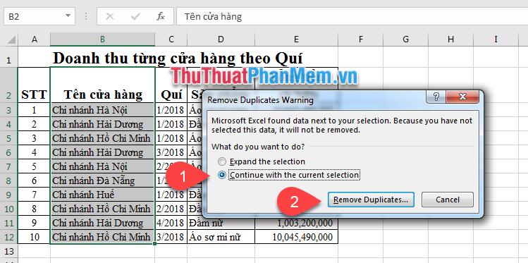 lọc dữ liệu không trùng nhau trong excel