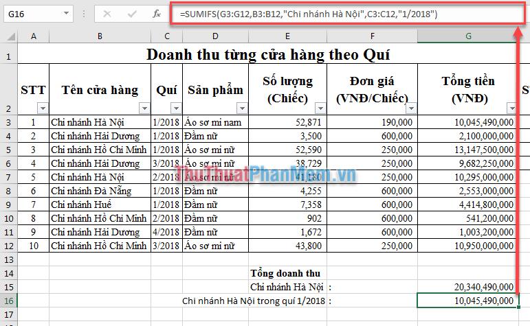 Tính doanh thu của chi nhánh Hà Nội trong quí 1 năm 2018