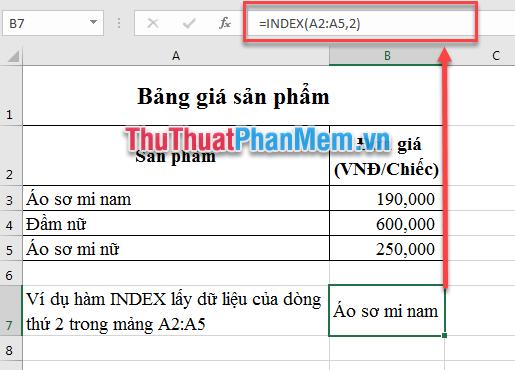 Ví dụ sử dụng hàm INDEX
