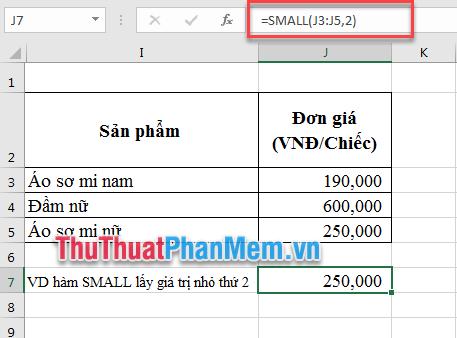 Ví dụ sử dụng hàm SMALL