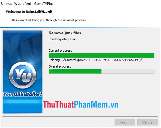 Xóa ứng dụng hoàn thành khi việc Remove toàn bộ file hoàn tất