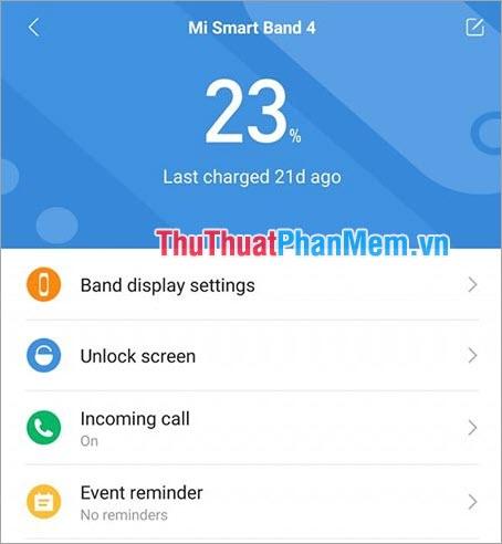 Thời lượng Pin chuẩn của Miband 4 đã khắc phục lỗi