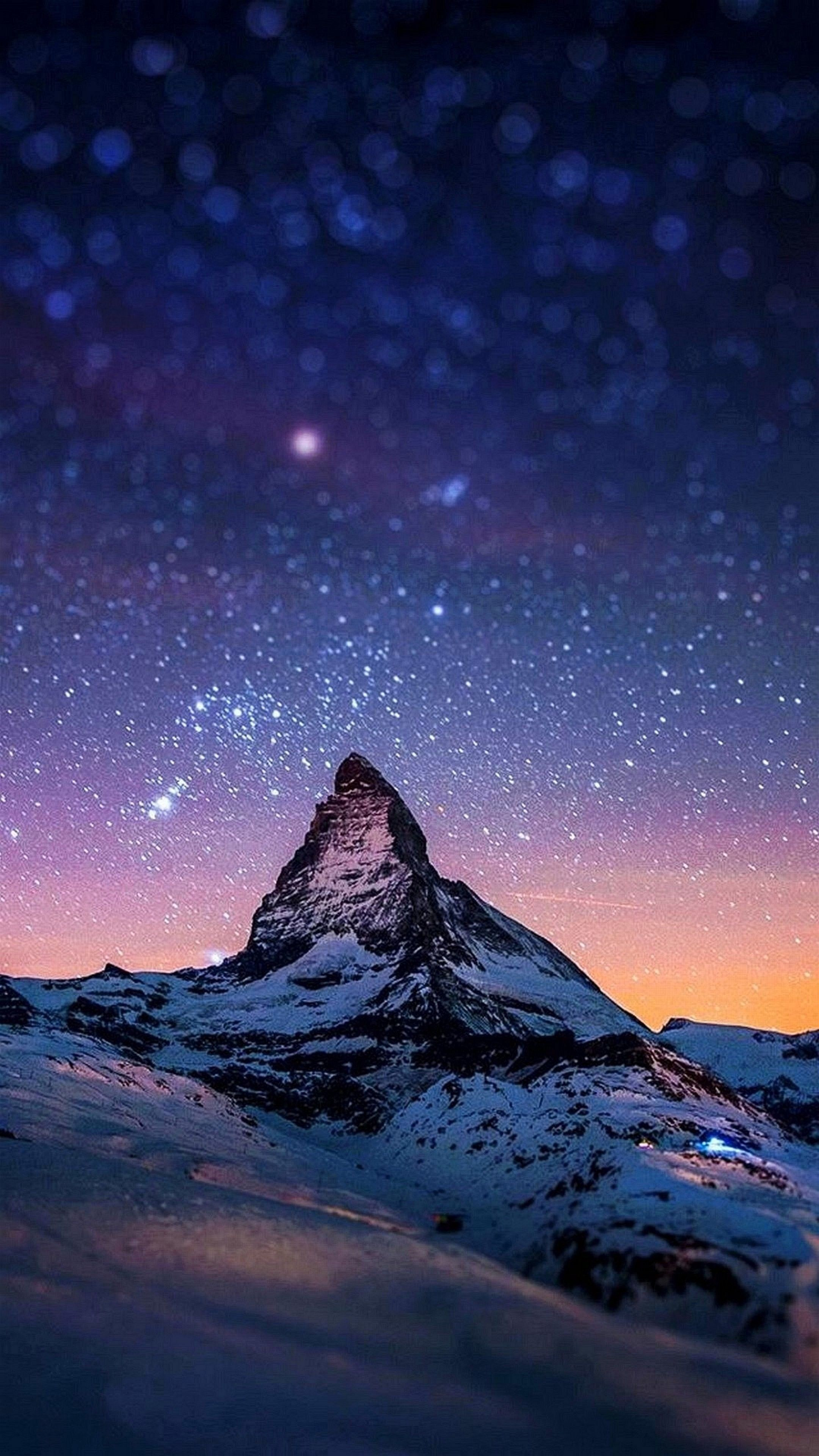 Ảnh 4k làm nền điện thoại rất đẹp - đỉnh núi tuyết dưới trời sao