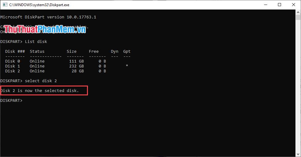 Hệ thống thông báo chọn ổ đĩa thành công