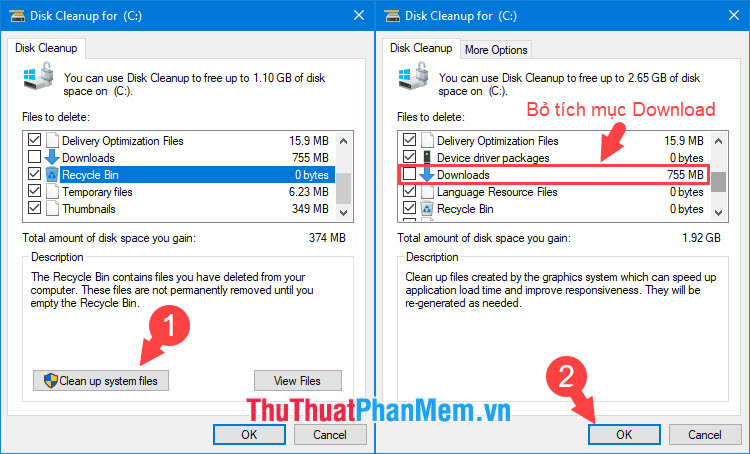 Chọn mục Clean up system files